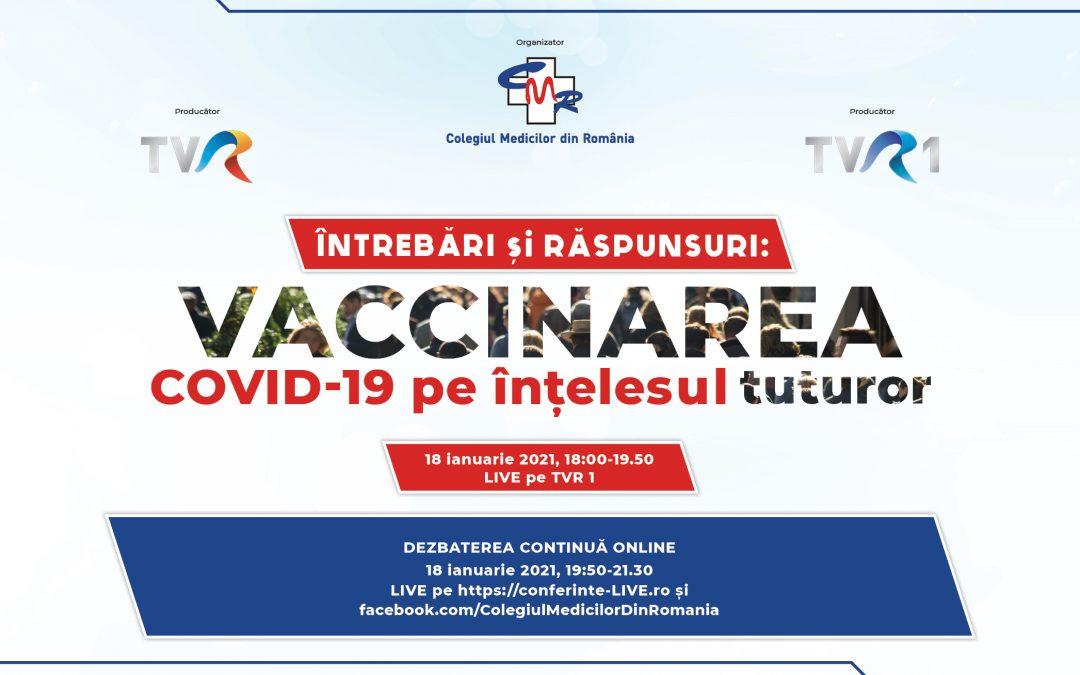 18.01.2021 | Întrebări și Răspunsuri: VACCINAREA COVID-19 pe înțelesul tuturor